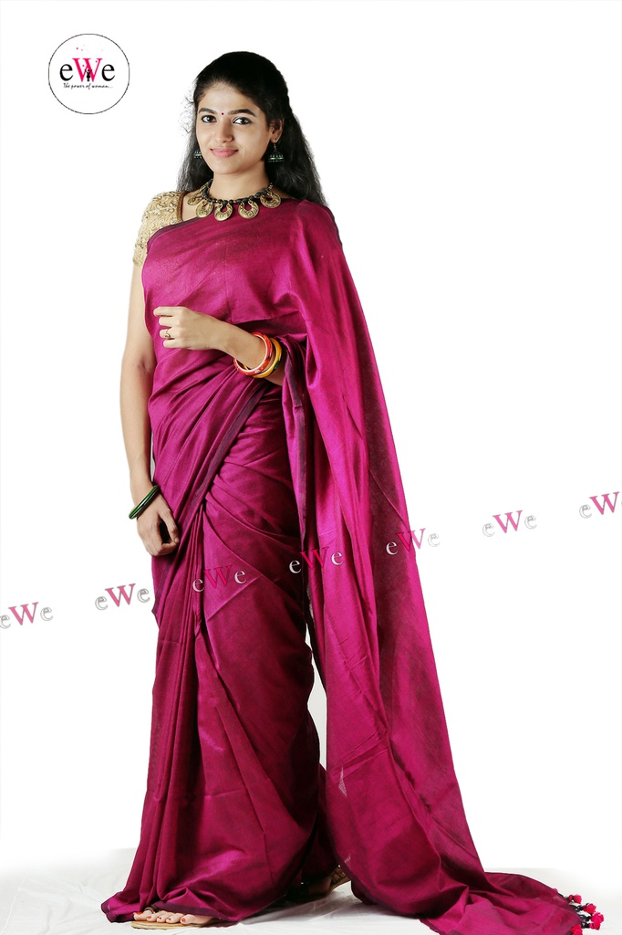 khadi plain saree