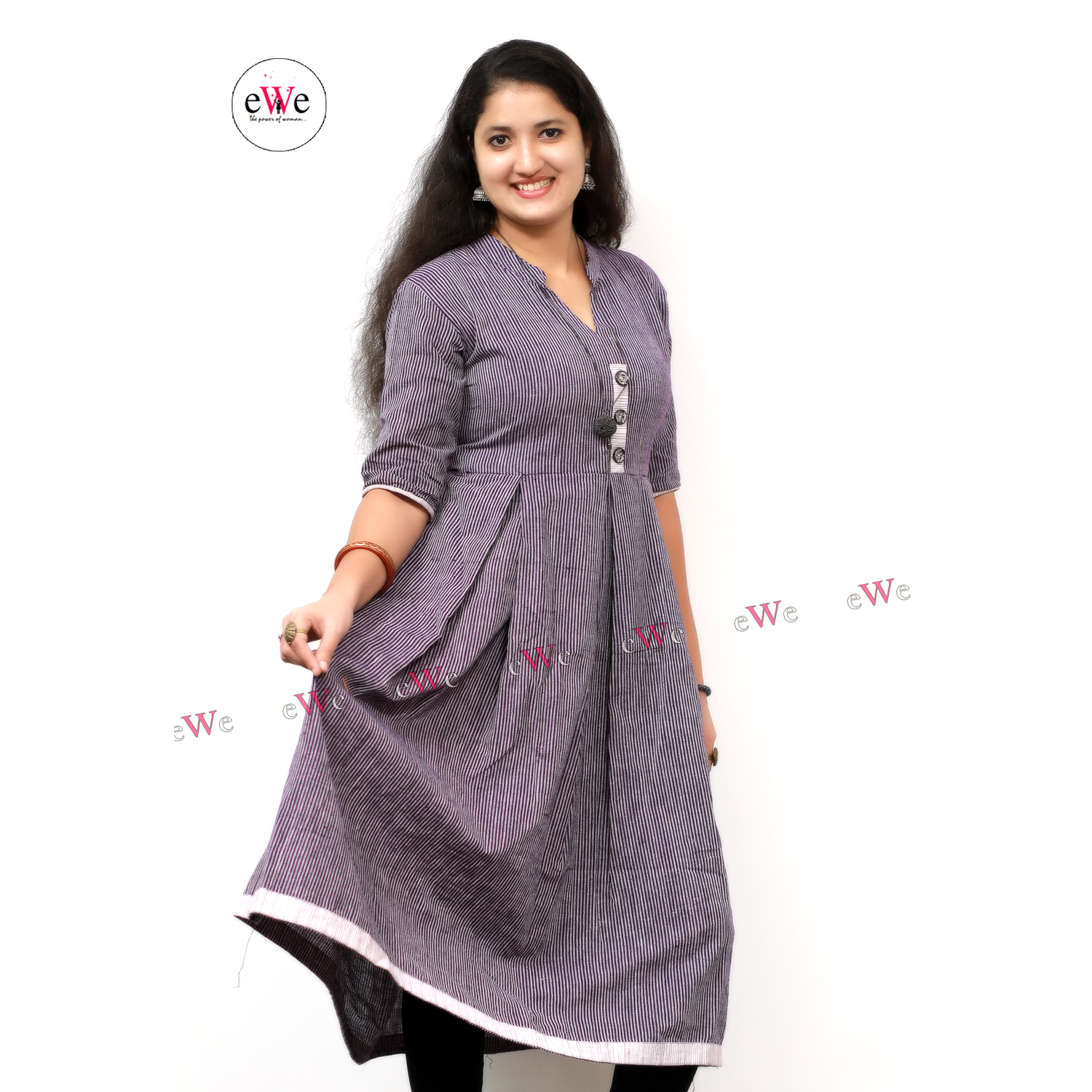Khadi Violet Stripes Gown