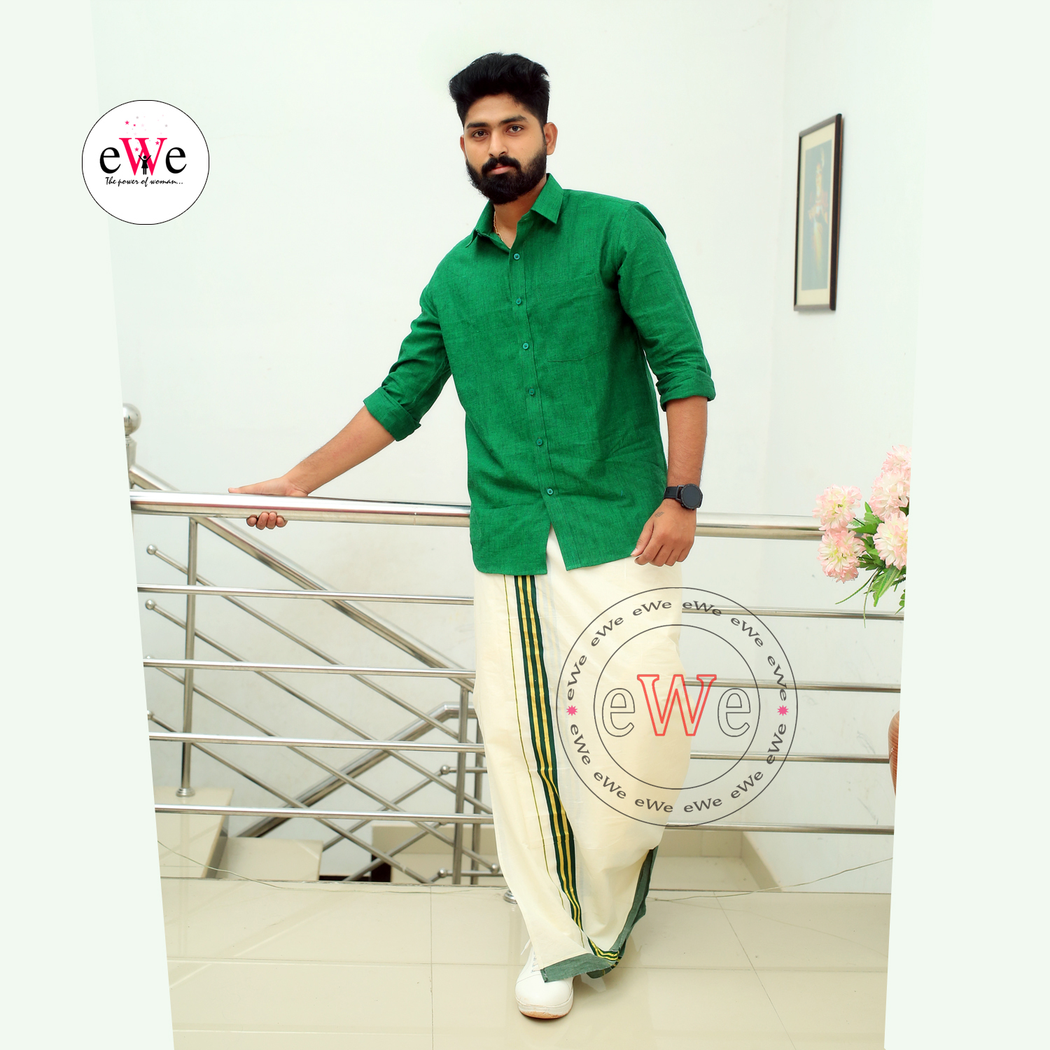 """Green"" Handloom Soft Cotton Men's Shirt"