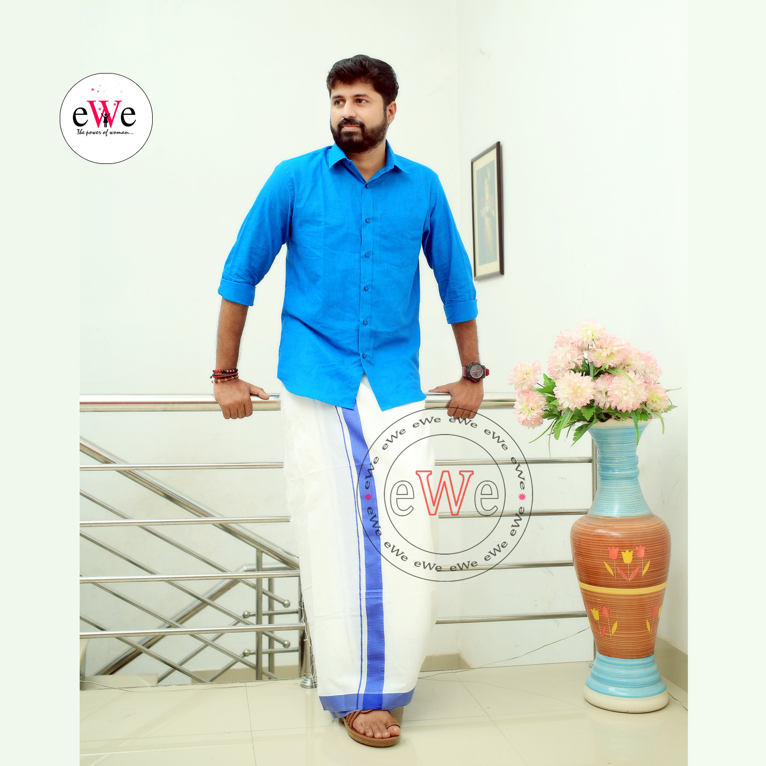 """Blue"" Handloom Soft Cotton Men's Shirt"