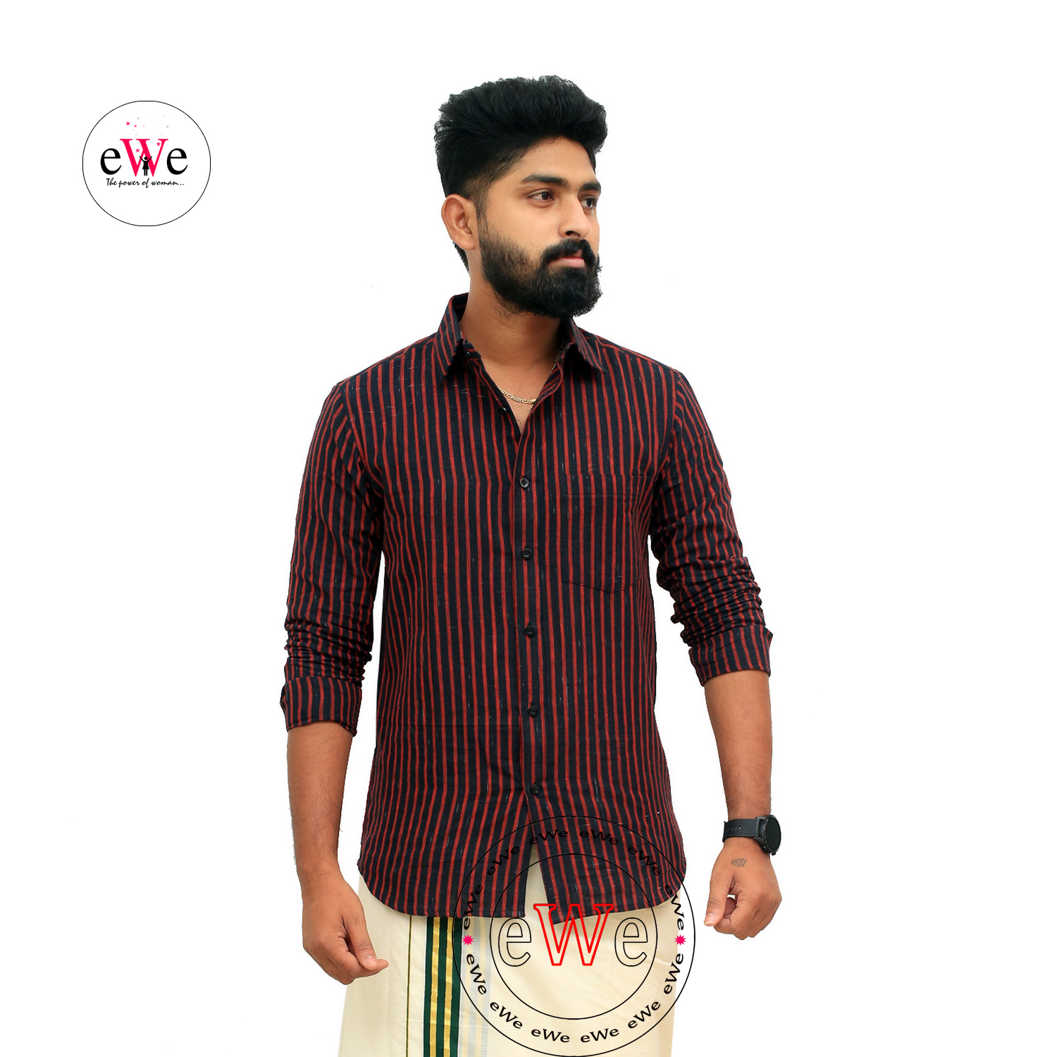 """Black And Red Stripe"" Khadi Men's Formal Shirt"