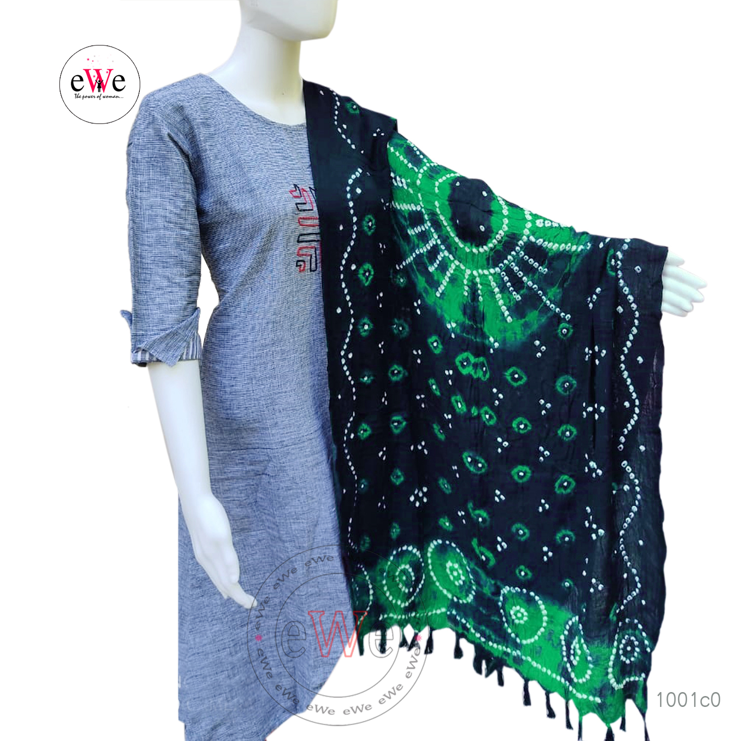 Black And Green Bandani Cotton Dupatta