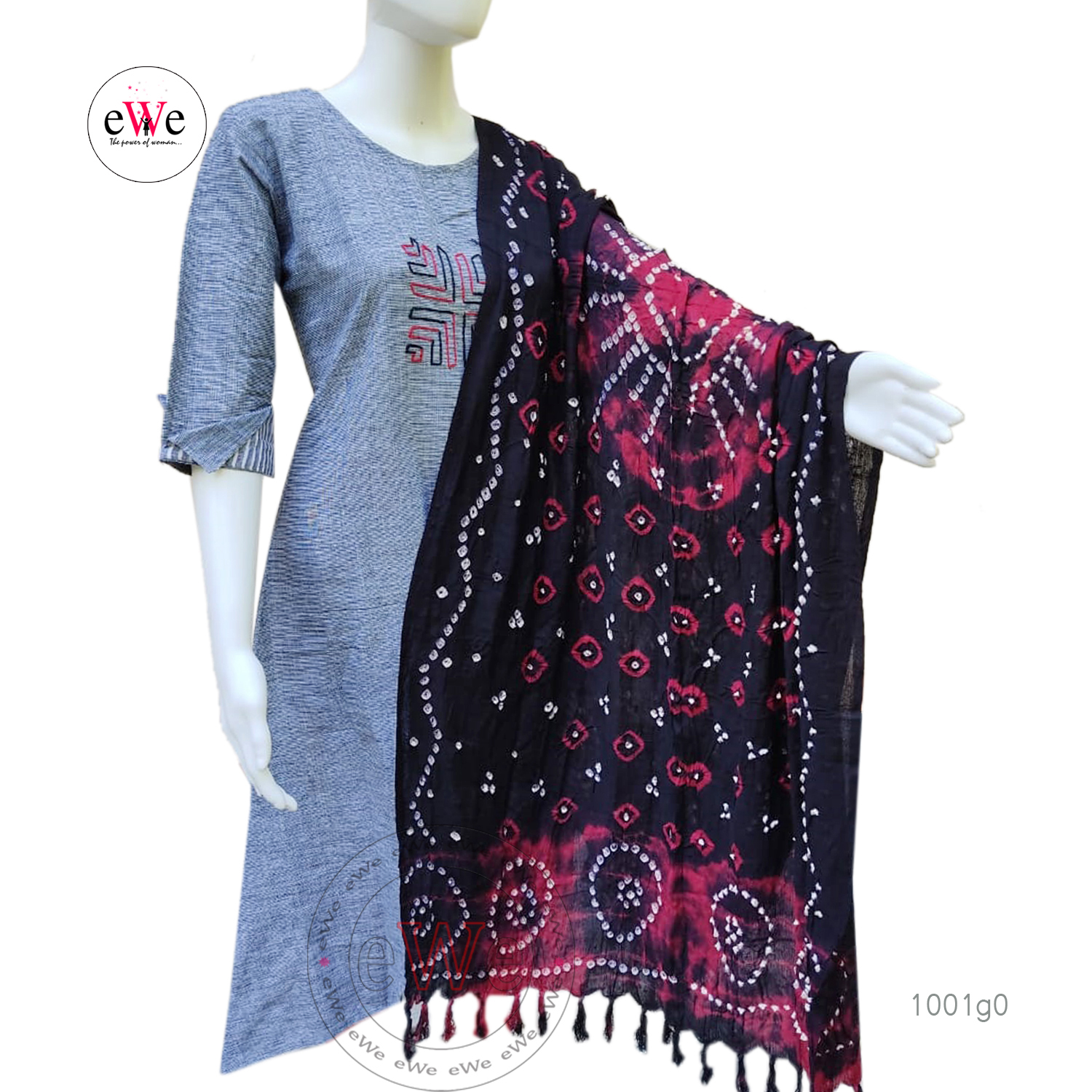 Black And Meroon Bandani Cotton Dupatta