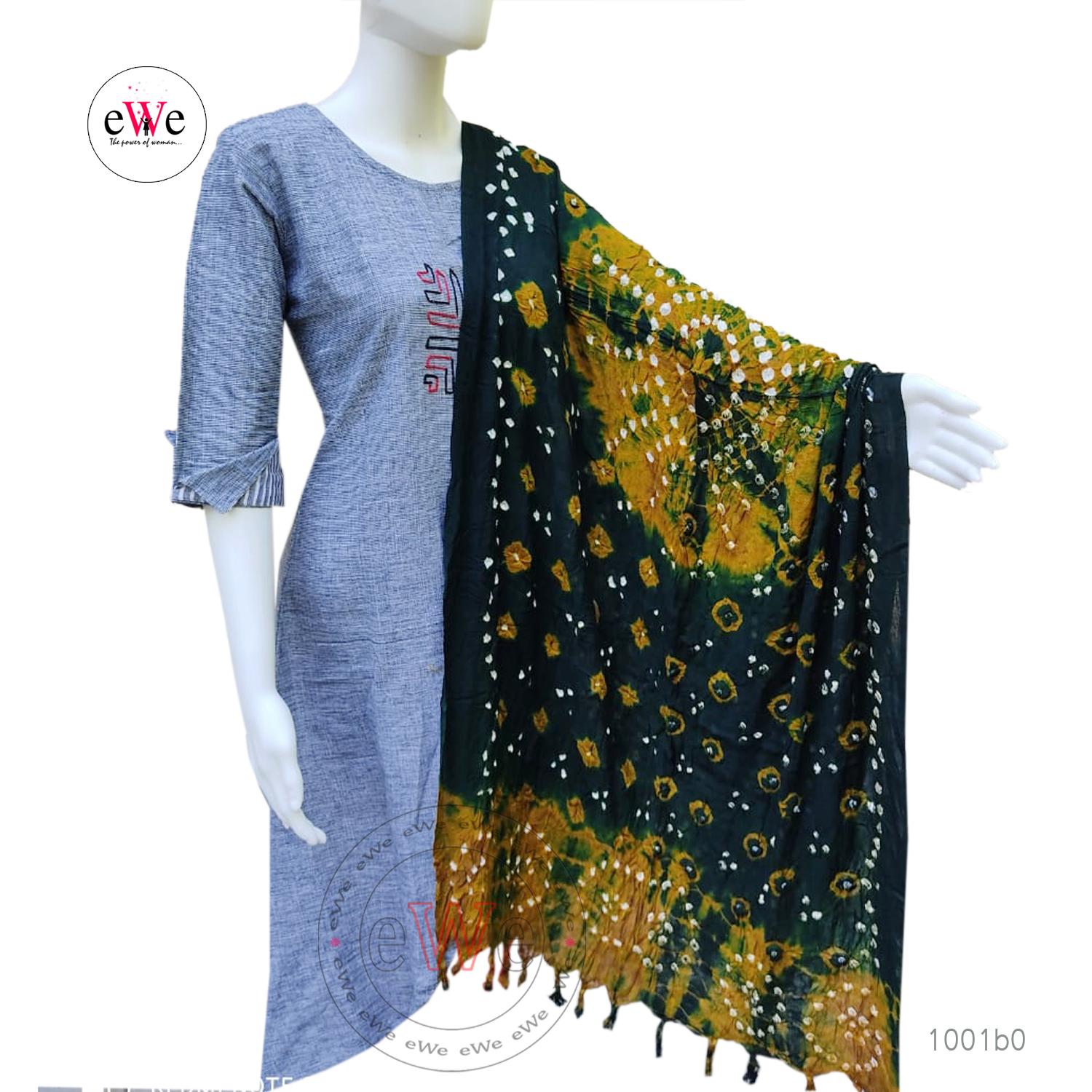 Golden Yellow And Green Bandani Cotton Dupatta