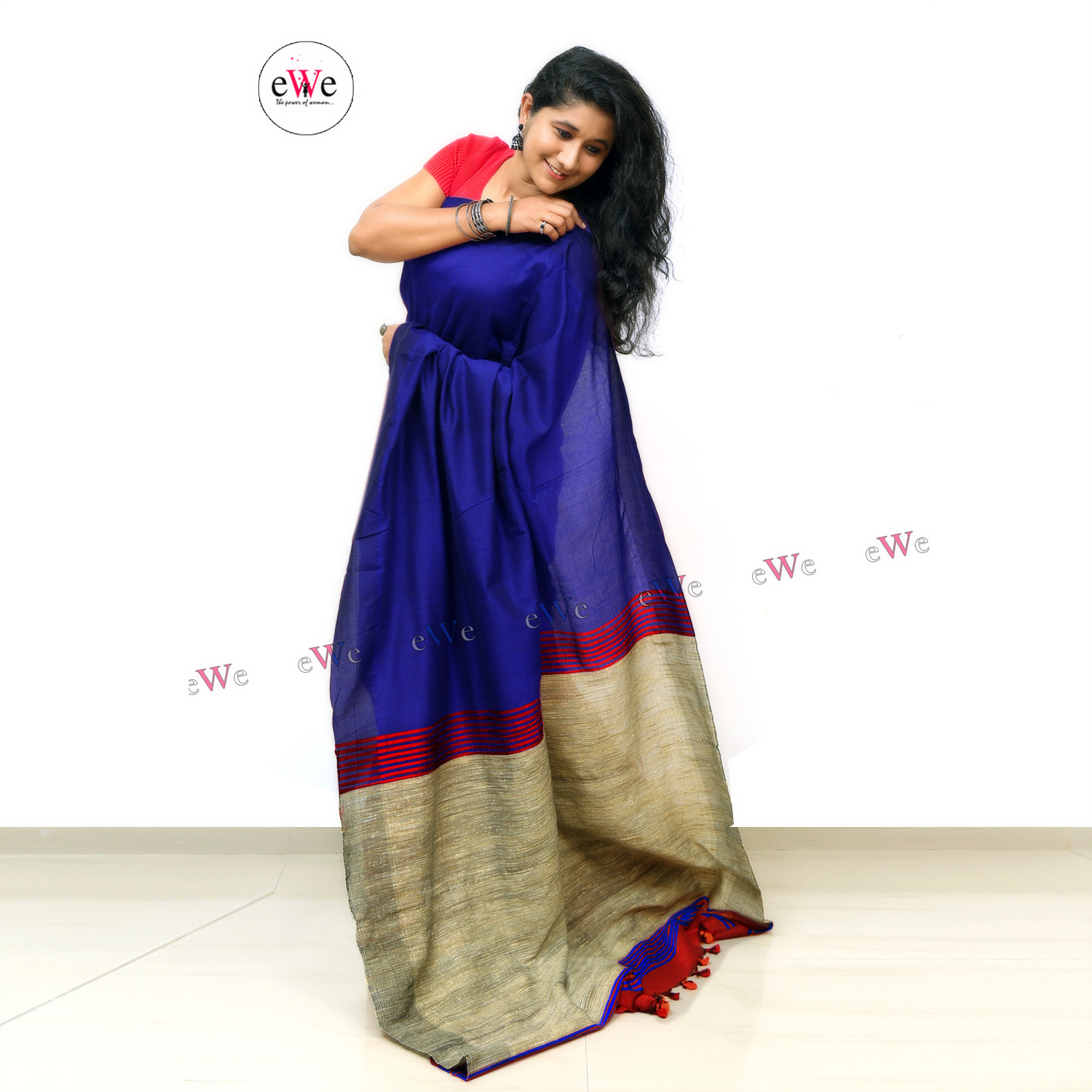 Handloom Ghicha Saree ( Red and Blue)