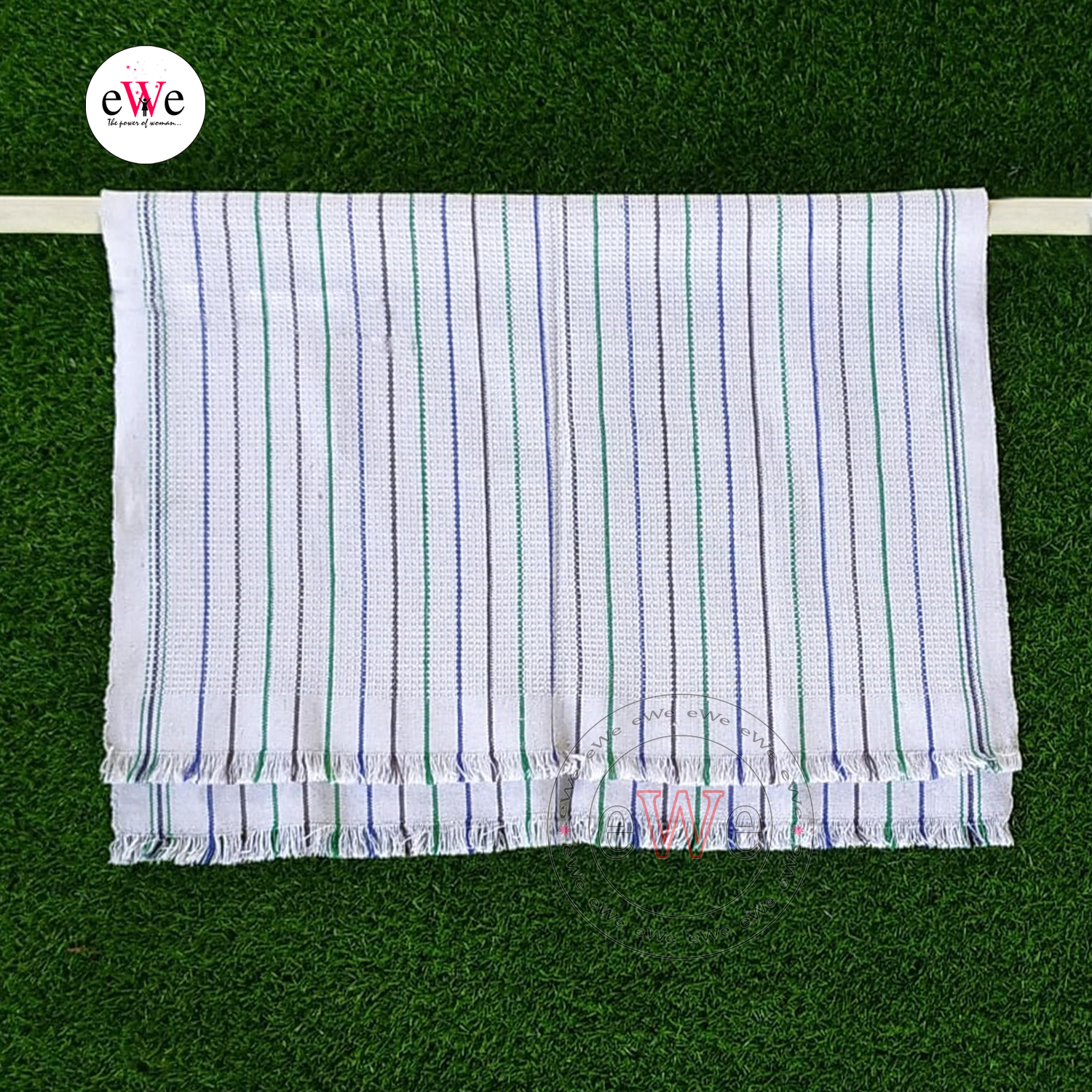 Strips Khadi Cotton Extra Length Washed Kitchen Towel Combo Set Pack of 2 Pieces (90 cm x 65 cm)