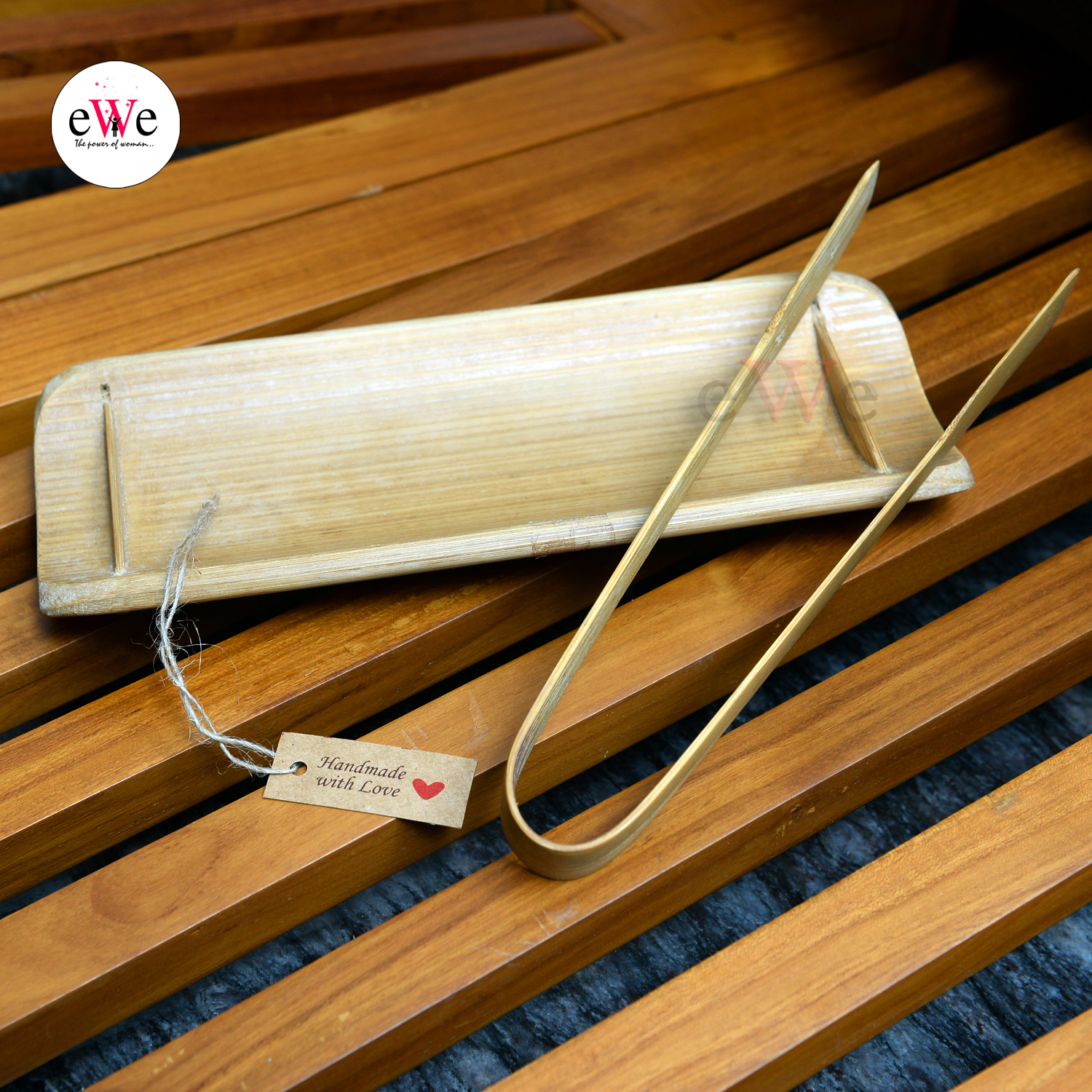 Bamboo Fish Serving Tray and Kitchen Tongs