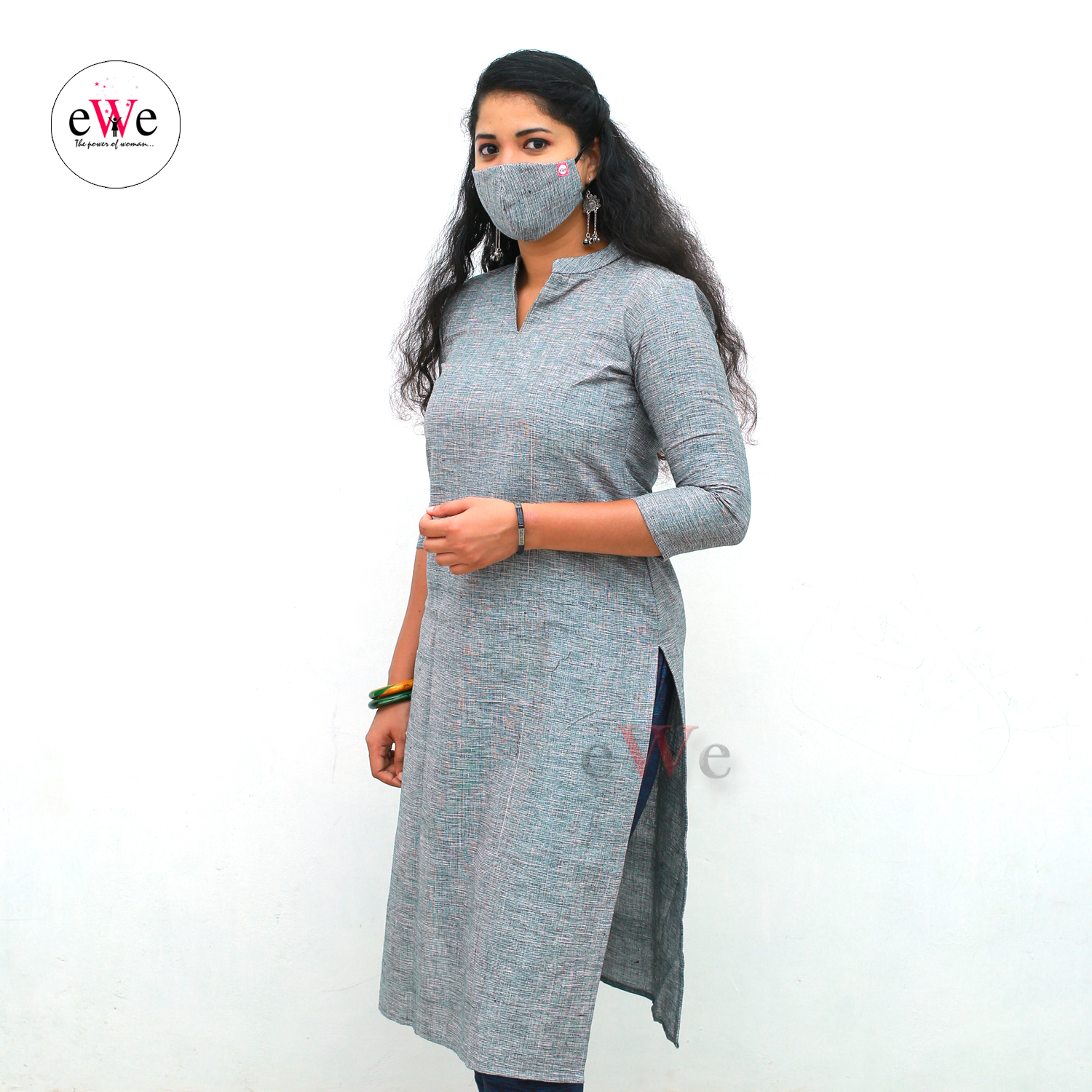 Khadi Face Mask Dark Ash with Elastic