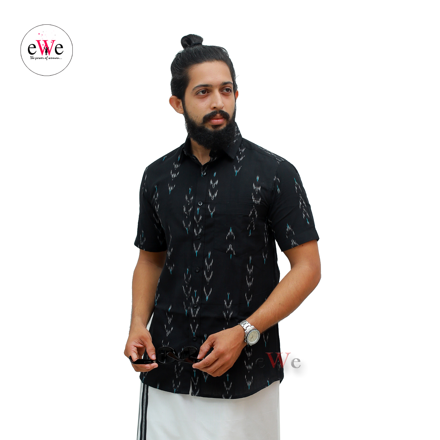 """Black"" Men's Formal Half Sleeve Shirt With Ikkat Design"