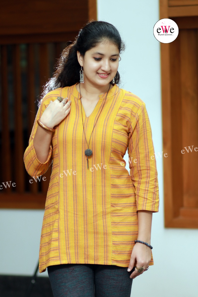 Khadi Short Top -Yellow