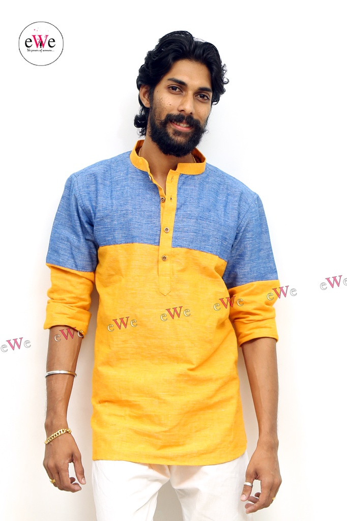 "Khadi Gents Kurta ""Yellow & Blue"""