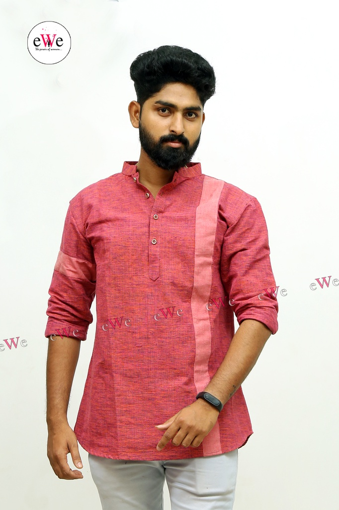 "Khadi Gents Kurta ""Red"""