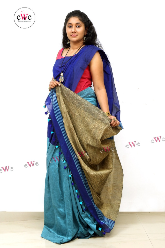 Handloom Ghicha Saree (Light Blue, Blue)