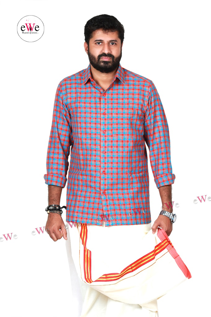 """Orange and Blue Checks"" Khadi Men's Formal Shirt"