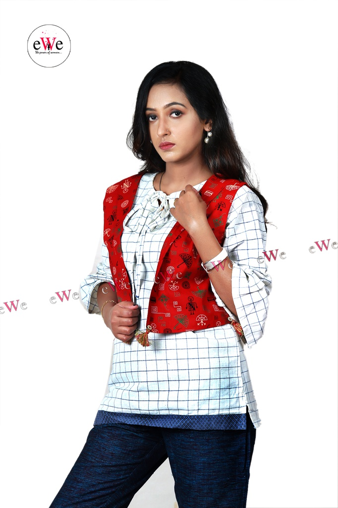 Khadi Ladies Jacket - Red