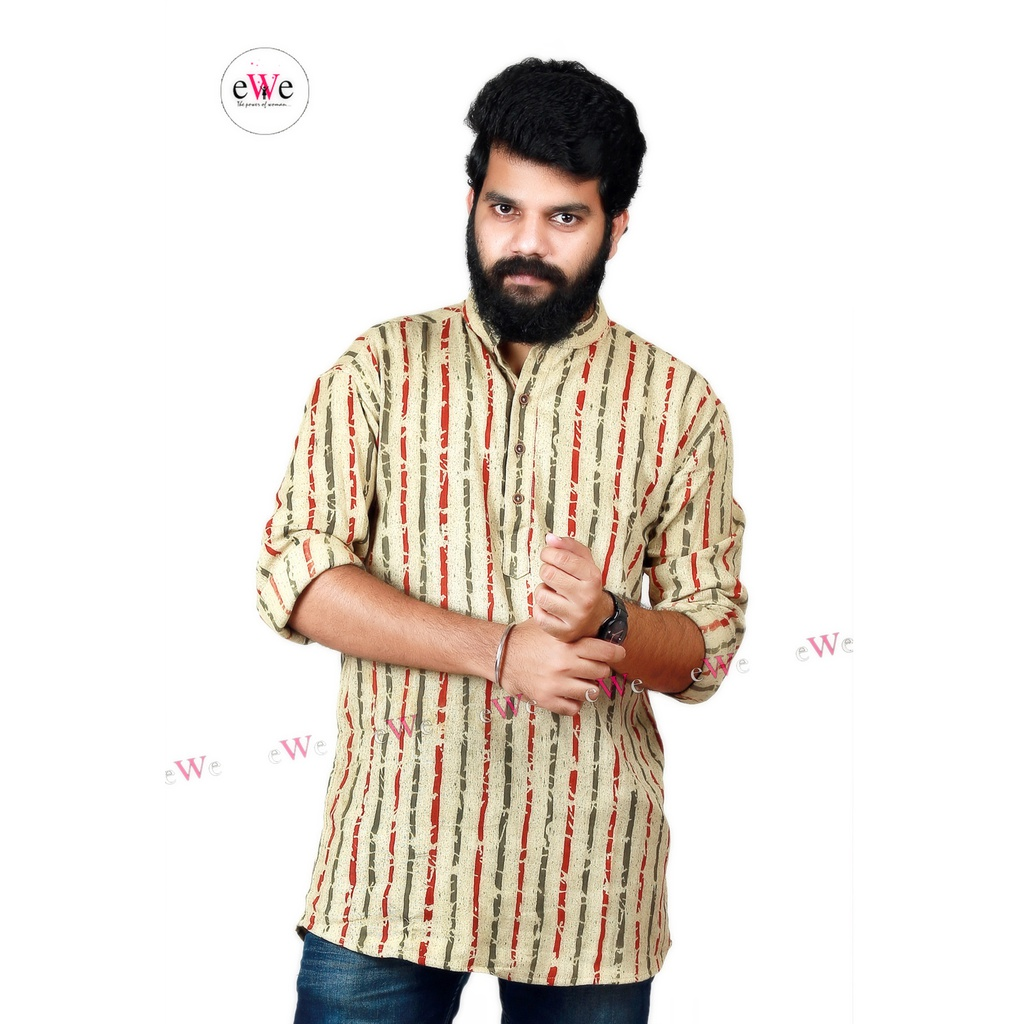 "Khadi Gents Kurta ""Oyster with Red & Green Stripe"""