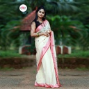 Handloom white & Red Woven Design Balucheri Saree