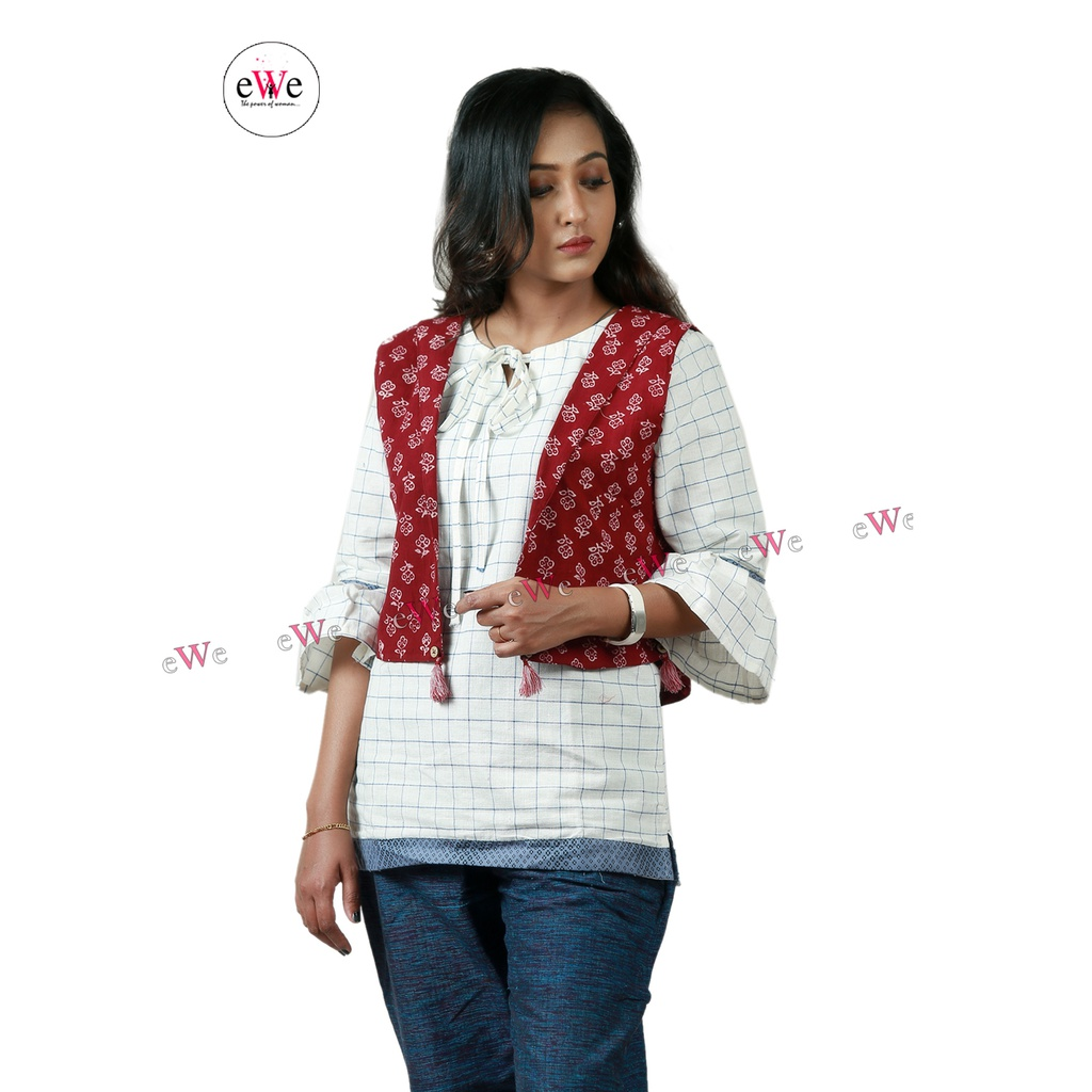 Khadi Ladies Jacket - Meroon