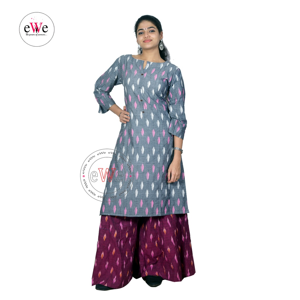 Gray Ikkat White & Pink Design Kurti
