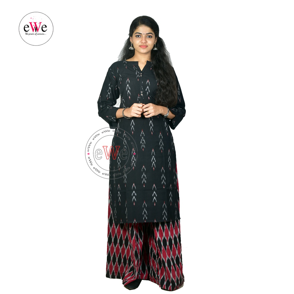 Black And Gray Ikkat Design Kurti