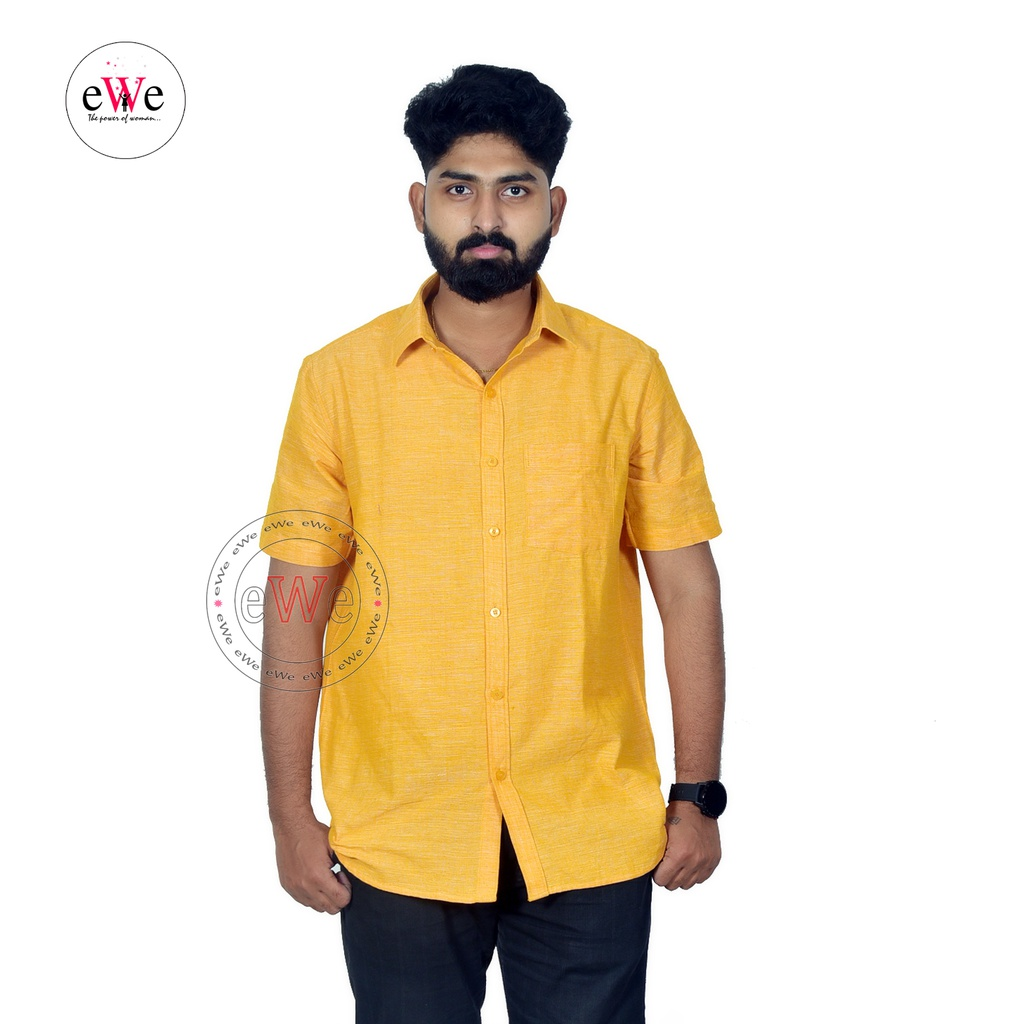 """Yellow"" Khadi Half Sleeve Men's Shirt"