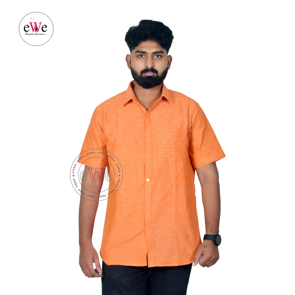 """Orange"" Khadi Half Sleeve Men's Shirt"