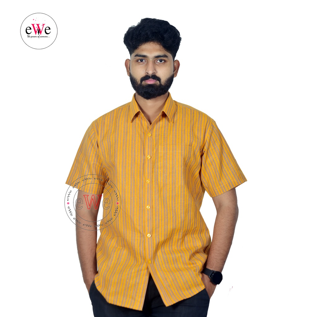 Yellow And Ash Khadi Half Sleeve Men's Shirt