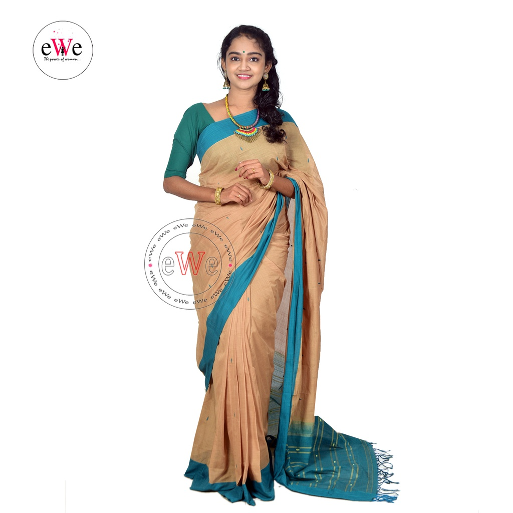 Traditional Handloom Saree (Light Brown & Blue)