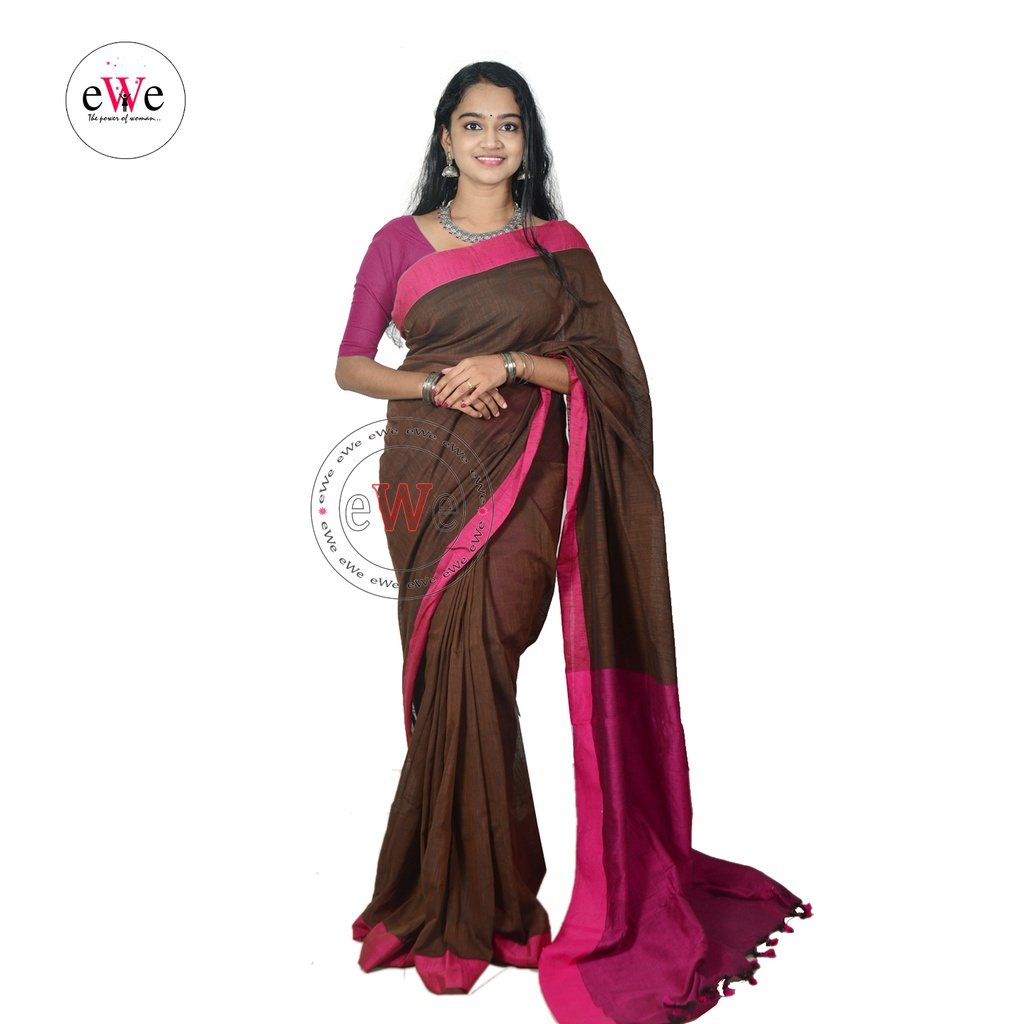 Handloom Design Saree  (Brown , Rose)