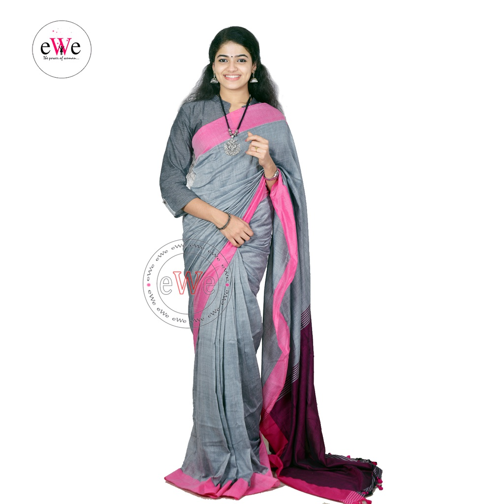 Handloom Design Saree  (Ash , Rose)