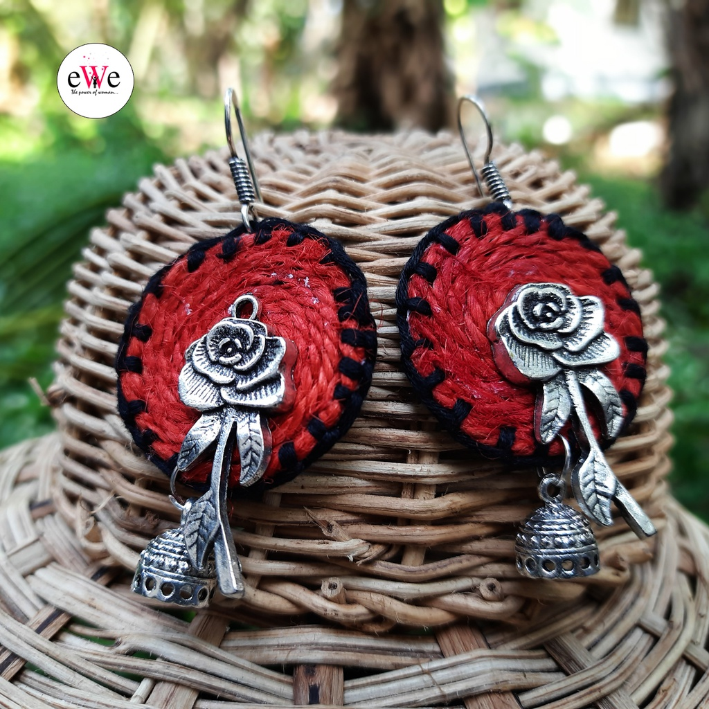 Black And Red Woolen Thread Rose Flower Handmade With Jhumka Earrings