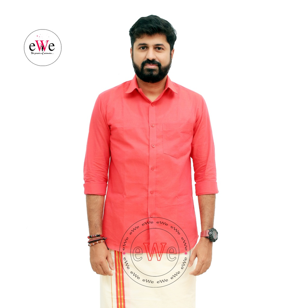 """Pink"" Handloom Soft Cotton Men's Shirt"