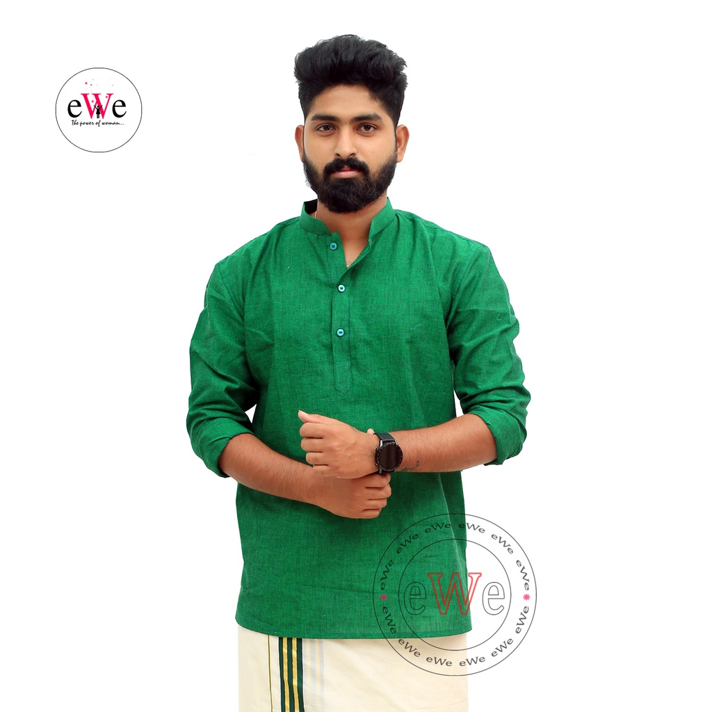 Gent's Cotton Handloom Green Coloured Short Kurta