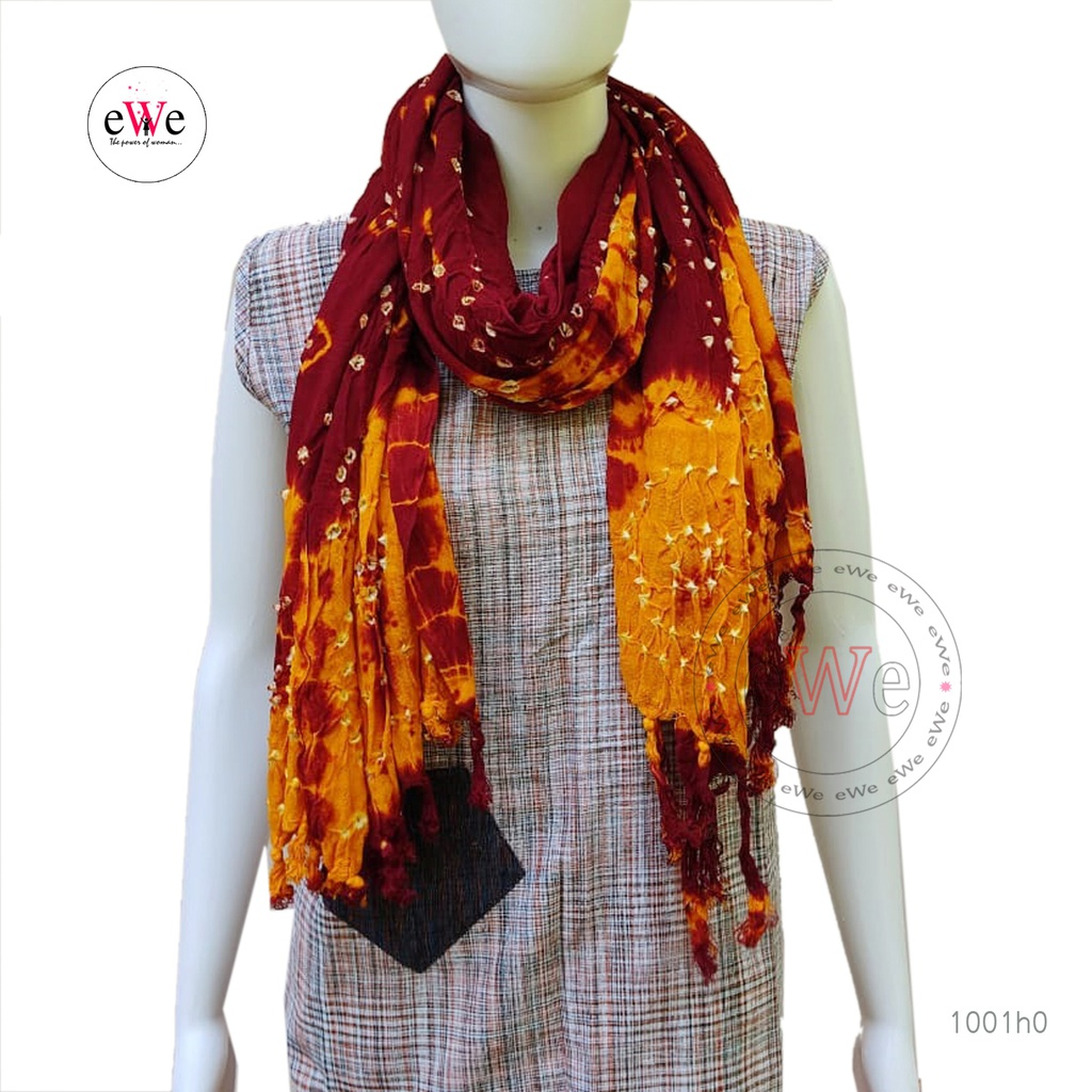 Red And Orange Bandani Cotton Dupatta