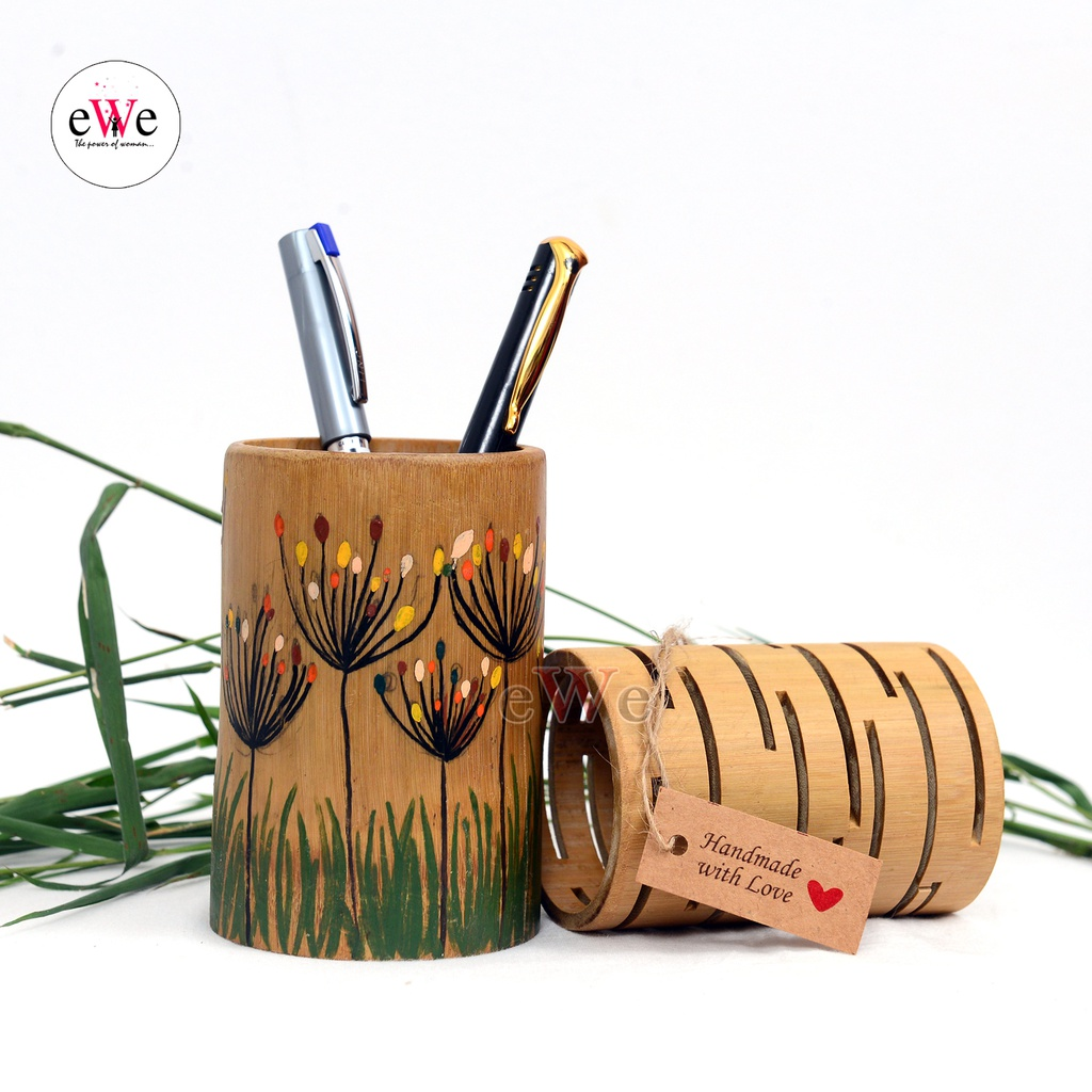 Bamboo Pen Holder With Design Combo Set