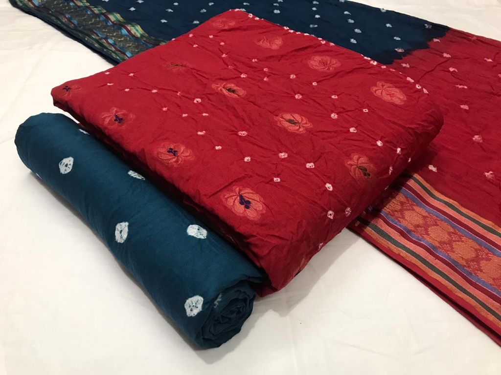 Red & Dark Blue Satin Cotton Fabric with Elegant Concept White Traditional pure Handloom Bandhani Churidar Material